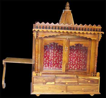 Folding Side Stand Teak Wood Temple