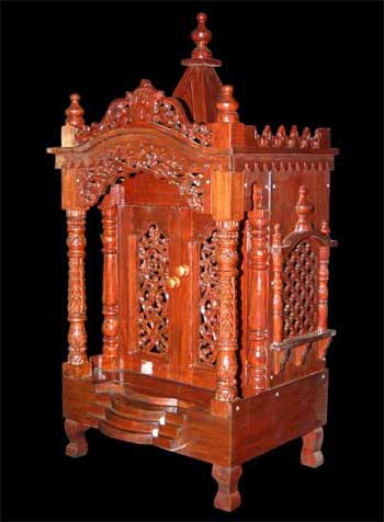 Brown Polish Teak Wood Temple