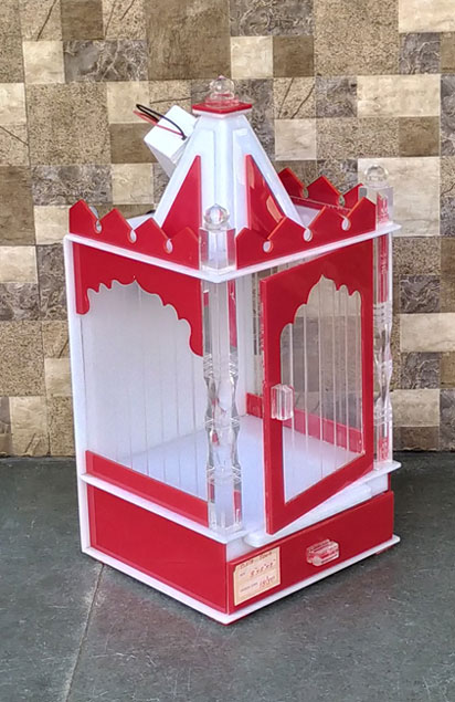 Compact Single Dom With Door Acrylic Temple Red